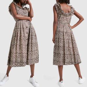 Sea New York Lottie Leopard Print Midi Dress